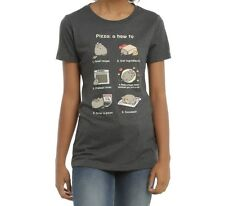 Pusheen The Cat PIZZA INSTRUCTIONS Girls Junior T-Shirt NWT Licensed & Official