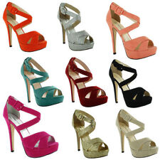 Stiletto Peep Toes Party Faux Suede Heels for Women