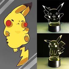 3D Nuit Lumière Lampe Coloré Pokemon Pikachu Stationnaire Cadeau Décoration