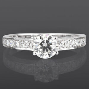 DIAMOND SOLITAIRE ACCENTED RING WOMEN ANNIVERSARY 18K WHITE GOLD VVS2 1 1/4 CT
