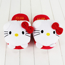 27cm Cute Hello Kitty Slippers Winter Women Shoes Indoor Home Warm Adult Plush