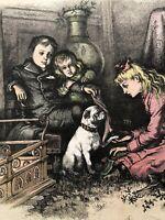 1881THOMAS NAST HARPER'S WEEKLY CHRISTMAS ENGRAVING CHILDREN PUG DOG (RED)