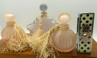 / 3  Lavender Satin Glass BALOS ART DECO FAN PERFUME BOTTLE GLASS Mid Century