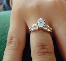 Cut Man Made Diamond Engagement Ring 14K Solid Yellow or White Gold marquies