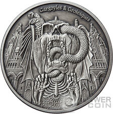 DECAY Gargoyles Grotesques Antique Finish 1 Oz Silver Coin 1000 Francs Chad 2017
