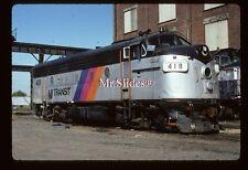 Original Slide NJT New Jersey Transit ex C&NW Clean F7A 418 In 1985 At E'Port NJ
