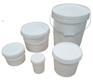 Plastic Buckets Tubs Containers with Tamper Evident Lids 1L 2.5L 5L 10L 25L