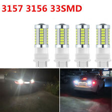4X 6000K White 3157 3156 33SMD LED Tail/Brake/Stop Light Bulbs T25 3.6W 900Lums