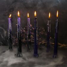 Halloween Decor Candles Light - Set of 6 - 9 inch - Black / Purple / White