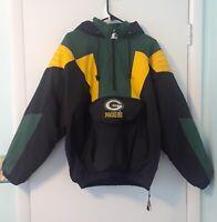 VTG Green Bay Packers Starter Coat Pullover Parka NFL Winter Hood Jacket 90s Med