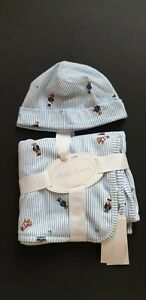 Ralph Lauren Baby Blanket  Blue Teddy Stripe Newborn