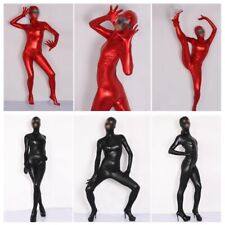Donna Simil Latex Zentai Body Catsuit Effetto Bagnato Lucido Completo Palco