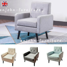 linen Fabric Tub Chair Armchair Home Cafe Lounge Bedroom Chair Footrest Stool UK