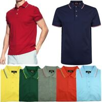 Men's Polo Shirt Dri-Fit Quick-Dry Golf Sports Tee Cotton Jersey Stripe T Shirt