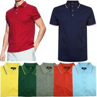 Men's Polo Shirt Dri-Fit Quick-Dry Golf Sports Tee Cotton Jersey Stripe T Shirt