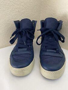Gucci Guccissima Blue GG Nylon Leather Trim High-Top Sneakers Men Sz 10G/ US 11