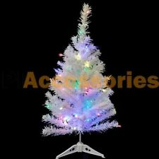 2 FT Artificial Mini Tabletop Christmas Tree White with Multi Color LED Light