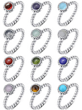 925 Sterling Silver Beaded Birthstone European Ring