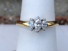 14K GOLD 1/2CT THREE STONE MARQUISE DIAMOND RING SIZE 7.75