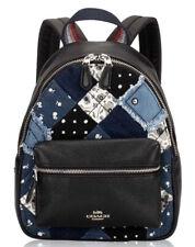 Coach F72771 Mini Charlie Backpack Black Leather Denim Americana Patches 398
