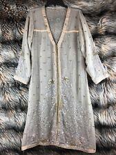 PAKISTANI DRESS SHEER EMBROIDERED BEAUTIFUL TAN SUMMER COAT KAMEEZ INDIA LL