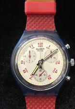 Vintage Swatch Chrono Diver Watch New w Box Red Blue Rubber Water Resistant 30M