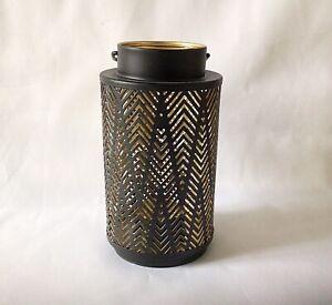 Moroccan Style Black Gold Cylinder Lantern  -  Tea Light Candle Holder