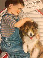 Vintage Fathers Day Card Hallmark Diecut Boy Flocking Dog House Lassie Collie