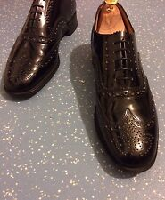 Men's New Sanders Black Leather Hand Made Brogues Shoes UK 8.5 EU 42.5 US 9.5