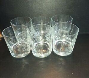 Set of 6 Vintage Cut Glass Whisky  Glasses/ Tumblers