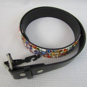 Unisex Belt Genuine Bonded leather & Tiles Italy style Size 30/32 small