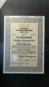 4 % Pfandbrief Schlesische Landeskreditanstalt 1000 RM 1940 Breslau Wroclaw