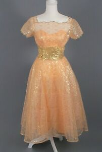 VTG Women's 50s Beige & Gold Formal Dress Sz S Lace & Tulle Aldens