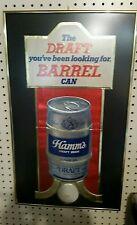 """New listing Vintage Hamm'S Draft Barrel Cardboard Embossed Sign Framed Under Glass """"Rare"""""""