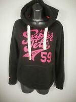WOMENS SUPERDRY GREY PINK PULL OVER HOODIE JUMPER SWEATER SMALL S