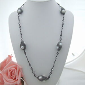 "GE032601 28"" White Pearl Trimmed Macarsite Crystal Chain Necklace"