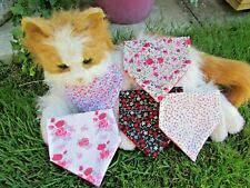Tiny Dog or Cat Collar Bandanna Pretty Pinks & Black Floral Fabric Patterns