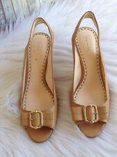 Coach Miranda Open Toe High Heel Pumps Shoes Camel Buckle Detail Size 8.5 AA