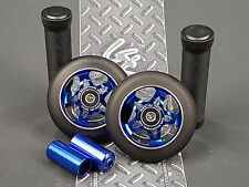 Blue Pro Star Black Metal Core Scooter Wheels x2 + Grips + Pegs + Grip Tape