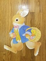 """Vintage Die Cut Easter Bunny Window Decoration 23"""" tall Jointed Moveable Decor"""