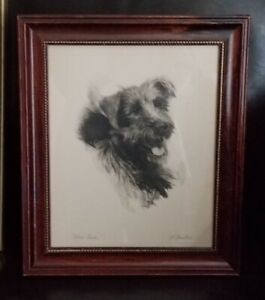 Terrier Dog Here Rover! Etching Frank Farkas 1940s Framed