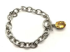 Sterling Silver Faceted Yellow Citrine Diamond Bail Toggle Link Tennis Bracelet