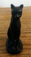 Egyptian Cat Goddess Bastet Black Resin Figurine with hieroglyphs (10 cm)