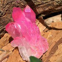 RARE 50g Titanium Rose Pink Aura Quartz Crystal Cluster Energy Healing Specimen
