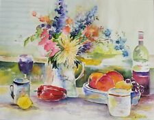"""Painter Suzanne Obrand, Holocaust Survivor, Watercolor """"Food, Wine and Bottles"""""""