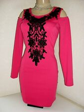 LIPSY CUT OUT SHOULDERS BODYCON DRESS Size 14 ~BNWT~ PINK & BLACK