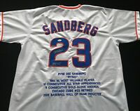 Ryne Sandberg Signed Autograph White Stat Baseball Jersey JSA Chicago Cubs Great