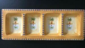 Liz Ross StoneLite Mirage Palm Divided Dish by Clay Art