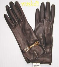 MOSCHINO chocolate 7 LEATHER Silk lined HEARTS Chain Logo gloves NWT Authentic!