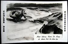 Grand Coulee Dam Washington ~ 1941 Model Drawing of Dam w/ Rattlesnake ~ Rppc